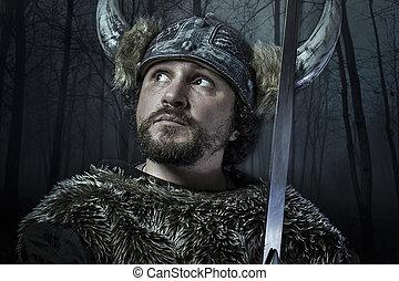 viking, estilo, vestido, barbudo, bárbaro, espada, guerreira, macho