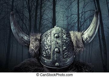 viking, estilo, vestido, barbudo, bárbaro, espada, guerreira, macho, capacete