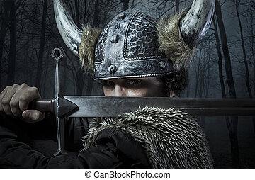 viking, estilo, vestido, barbudo, bárbaro, espada, guerrero,...