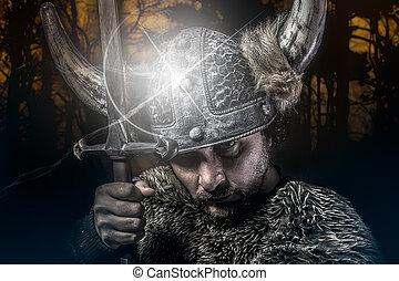 viking, estilo, vestido, barbudo, bárbaro, guerra, espada, guerreira, macho