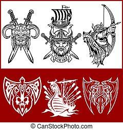 viking, etiquetas, jogo, logos., emblemas