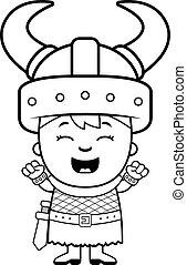 viking, excitado, niño