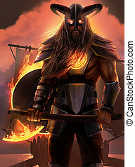Viking fire god standing with axe.