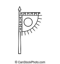 Viking flag icon, outline style
