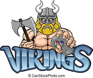 A Viking or gladiator warrior gamer mascot with video games controller