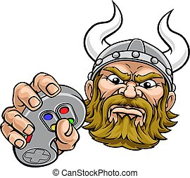 A viking warrior or barbarian gamer mascot holding video game controller playing games cartoon character