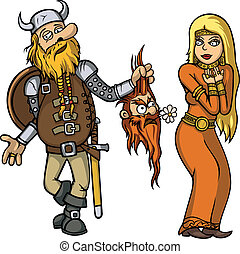 viking, girl, amour, chutes