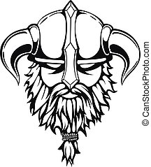 Brutal viking warrior monochrome contours illustration. Viking head with a horned helmet and a beard. Vector illustration.