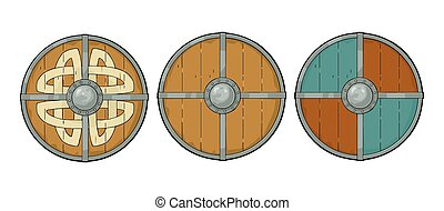 viking, gravure, set, border., hout, ronde, runes, ijzer, schilden