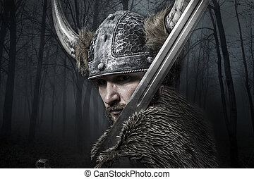viking, guerreira, capacete, sobre, espada, floresta, fundo