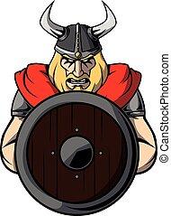 viking, guerreira, desenho, ilustração
