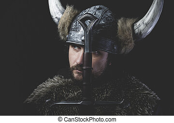 viking, guerreira, espada, capacete, liderança, ferro, chifres