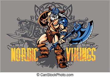 viking, guerrier, à, grand, hache
