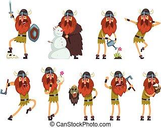 viking, guerrier, différent, caractères, ensemble, situations, illustration, scandinave, traditionnel, vecteur, fond, blanc, dessin animé, vêtements