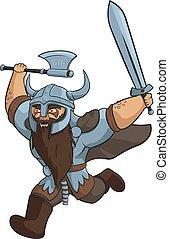 viking, guerrier, fâché