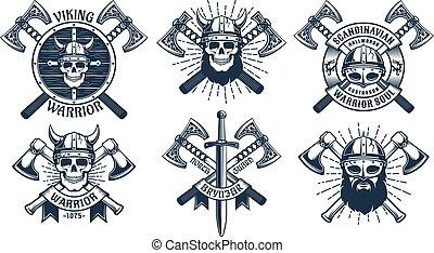 viking, guerriero, set, mascotte