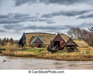 Viking harbor with longboats in Bork