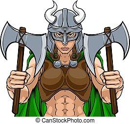 viking, harcos, nő, női, befog, gladiator, kabala
