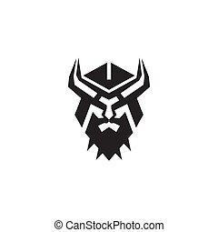 Viking head helmet logo design vector template
