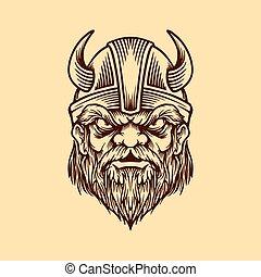 viking head in vintage style Vector illustration