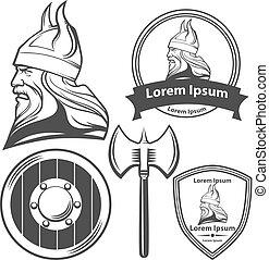 viking head logo elements - viking head, shield and axe,...
