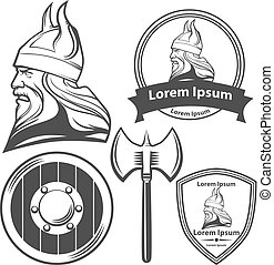 viking head logo elements - viking head, shield and axe,...