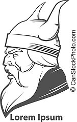 viking head logo - simple illustration for logo, viking...