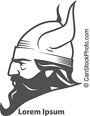 viking head power profile - simple illustration for logo,...