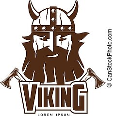 Viking head with a beard and axes