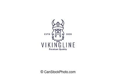 viking head with beard line logo vector icon illustration design