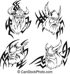 Viking heads - Heads of vikings. Set of tribal black and...