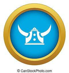 viking helm, blauwe , vrijstaand, pictogram