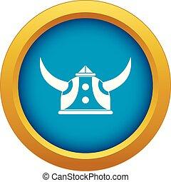viking helm, blauwe , vrijstaand, vector, pictogram
