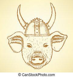 viking helm, schets, varken