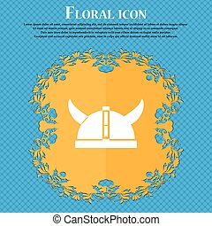 viking helmet icon icon. Floral flat design on a blue abstract background with place for your text. Vector