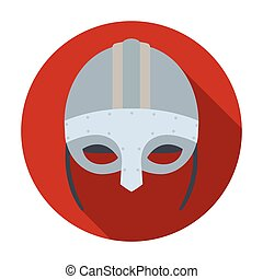 Viking helmet icon in flat style isolated on white background. Vikings symbol stock vector illustration.