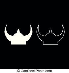 Viking helmet icon set white color illustration flat style simple image