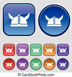viking helmet icon sign. A set of twelve vintage buttons for your design. Vector