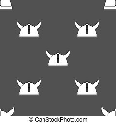 viking helmet icon sign. Seamless pattern on a gray background. Vector