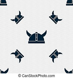 viking helmet icon sign. Seamless pattern with geometric texture. Vector