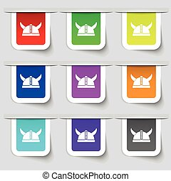 viking helmet icon sign. Set of multicolored modern labels for your design. Vector