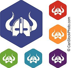 Viking helmet icons vector hexahedron