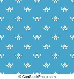 Viking helmet knight pattern vector seamless blue