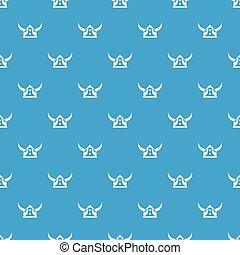 Viking helmet pattern vector seamless blue