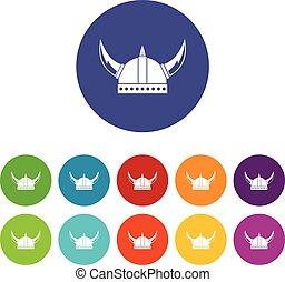 Viking helmet set icons