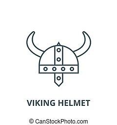 Viking helmet vector line icon, linear concept, outline sign, symbol