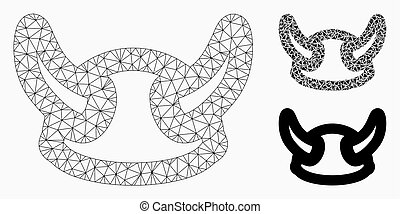 Viking Helmet Vector Mesh Network Model and Triangle Mosaic Icon