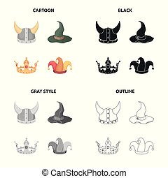 Viking helmet, wizard's hat, crown, jester's cap. Hats set collection icons in cartoon black monochrome outline style vector symbol stock illustration web.