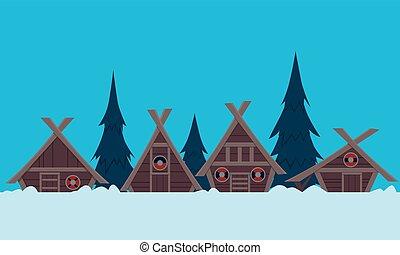 viking, hiver, village