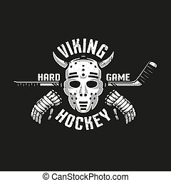 Viking hockey logo with a retro goalkeeper mask with horns